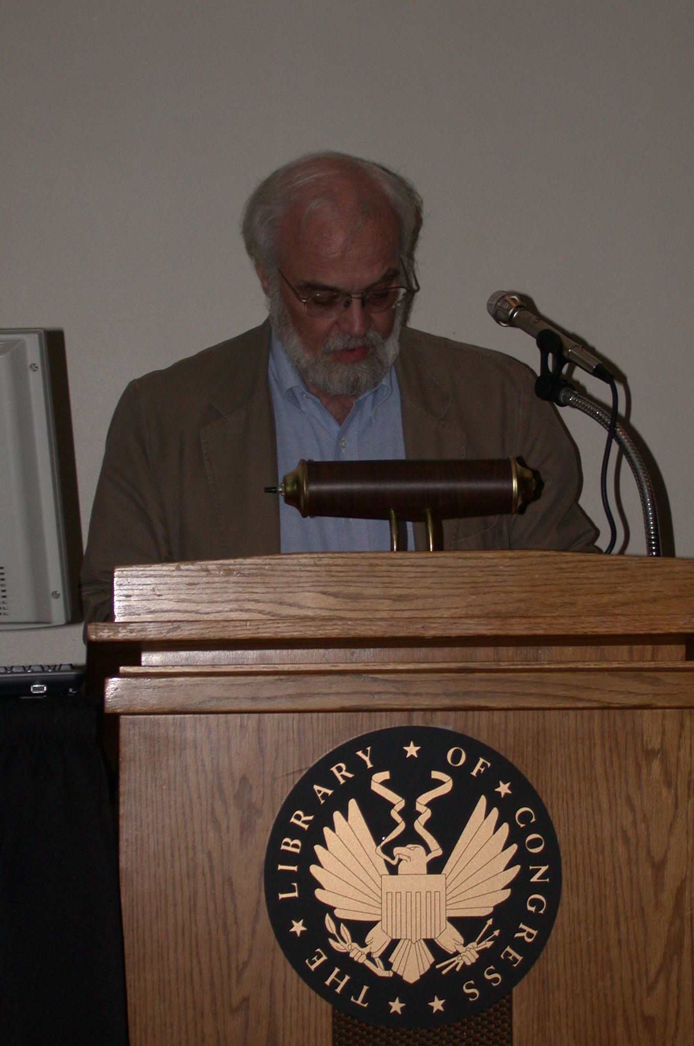 DSCN0188.jpg - He then talks about upcoming projects for the  Wesleyan Early Classics of Science Fiction  series.