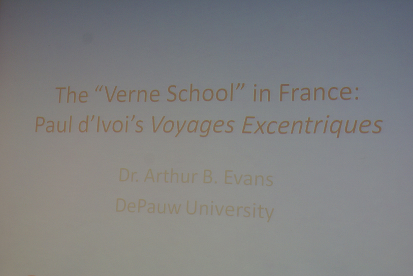"DSC00073.jpg - The only paper in this session was ""The 'Verne School' in France: Paul d'Ivoi's Voyages Excentriques"" by..."